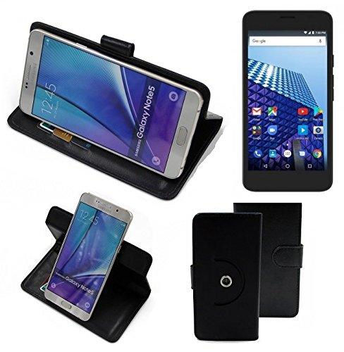 K-S-Trade® Case Schutz Hülle Für -Archos Access 55 3G- Handyhülle Flipcase Smartphone Cover Handy Schutz Tasche Bookstyle Walletcase Schwarz (1x)