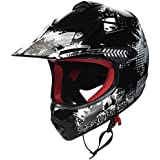 ARROW HELMETS AKC-49 Black Moto-Cross-Helm Cross-Helm Kinder-Cross-Helm Helmet Sport Junior Kids Quad Pocket-Bike Enduro MX Motorrad-Helm Cross-Bike Kinder-Helm, DOT zertifiziert, inkl. Stofftragetasche, Schwarz, L (57-58cm)
