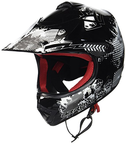 ARROW AKC-49 Black Sport Cross-Bike Racing Bambino Off-Road Scooter Casco Moto-Cross Junior Kids Helmet Pocket-Bike MX Motard Enduro Quad, DOT certificato, Compresi Sacchetto Portacasco, Nero/Griggio, L (57-58cm)