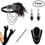 KQueenStar Damen Accessoires Set Halskette Handschuhe Zigarettenhalter Stirnband 20er Jahre 1920s Charleston Gatsby Retro Stil Kostüm Ball (Black3)