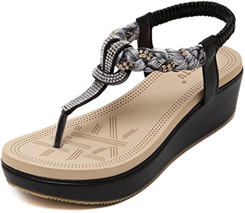 MIAOMIAOWANG Summer Wedge Heel Rhinestone Stretch Bohemia Nacional Viento T-Sandalias de pie (Color : Negro, tamaño...