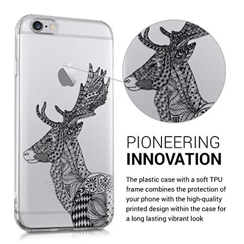 kwmobile Hülle für Apple iPhone 6 / 6S - TPU Silikon Backcover Case Handy Schutzhülle - Cover klar Indische Sonne Design Rosa Weiß Transparent Zentangle Hirsch IMD Schwarz Weiß