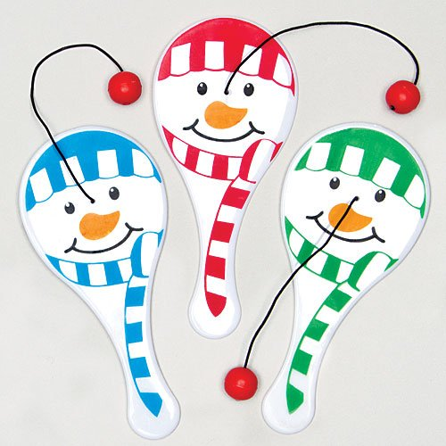 Baker Ross Mini Snowman Biff Bats for Children to Play With Perfect Stocking Filler & Small Gift Idea (Pack of 6)