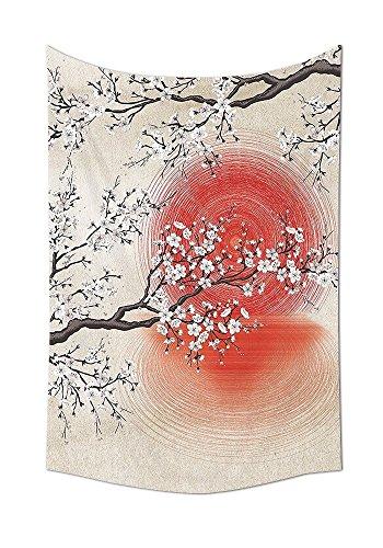 Cherry blossom sakura branches sun giapponese e riflessione shadow design patterns cream pearl wall decor soggiorno camera da letto arazzo da parete beige marrone rosso bianco, multicolor, 24w by 36l inch