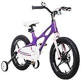 Bicyclehx Hochwertige Professionelle Magnesiumlegierung Kinder Fahrrad Kind Fahrrad in 14/16/18 Zoll Sicherheitsqualität Fahrrad für Jungen Mädchen (Color : Purple, Größe : 16 inch)