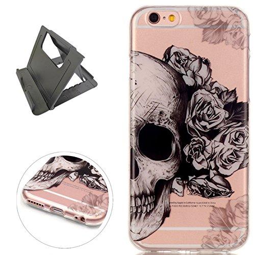 Keyye iPhone 6/6S Plus Hülle, Transparent Weiche Silikon Schutzhüll Kratzfest Gummi Weich Kristal TPU Schutzhülle Skin Shell mit bunten Muster Design-Schädel Rosen
