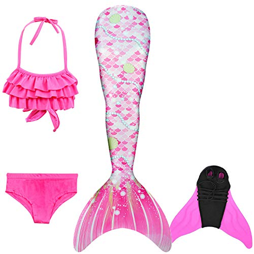 DECOOL 2018 Mädchen Meerjungfrau Schwanz Badeanzug - Prinzessin Cosplay Bademode für das Schwimmen mit Bikini Set,3-12 Jahre alt