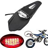 LEAGUE&CO Schutzblech mit rotem LED-Bremslicht, für hinten, mit Halterung, für Offroad-Motorräder, Motocross, Dirt Bikes (transparente Linse)