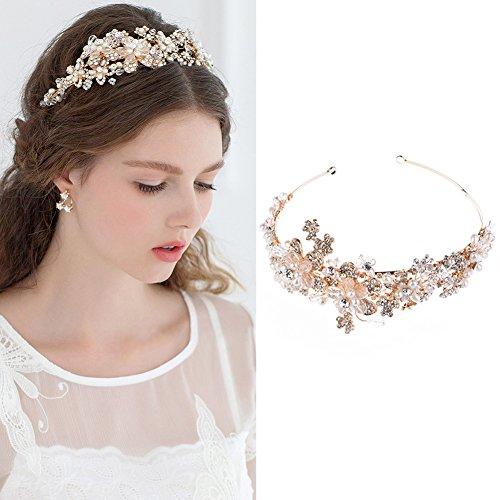 Braut Haarbänder - Greencolourful Luxuriös Krone Braut Perle Strass Handgemachte Hochzeit Zubehör Haarschmuck