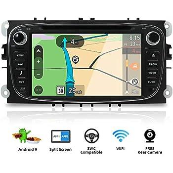 Autoradio Android 9.0 Estereo Compatible para Ford Focus/Mondeo/S-Max/C-Ma/Galaxy Coche Navegacion GPS Bluetooth WLAN Mirror-Link DAB+ |2 Din 7 ...