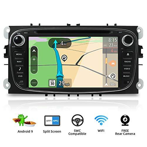 Android 7.1 Quad Core 2G-RAM 7 pouces Double DIn Stéréo de voiture GPS de navigation Fit pour Ford Focus support Mirror Link/Bluetooth/OBD/DAB/Subwoofer/USB/Wifi/4G Gratuit Canbus&Caméra Couleur Noir