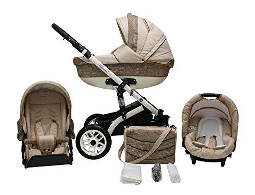 Lux4Kids Star Q Kinderwagen Komplettset (Autositz & Adapter, Regenschutz, Moskitonetz, Schwenkräder) 01 Sand & Cappuccino