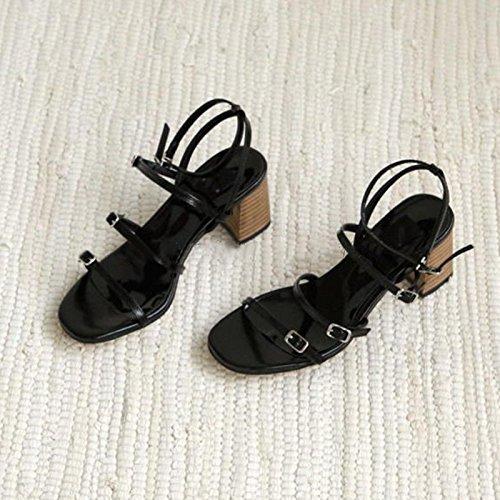 Chaussure Shaoge Été Épais Avec Un Mot Fibbia Tacchi Femme Orteil Toes Creux Un Mot Avec Des Sandales Romaines Sandali Par Donna Tinta Unita