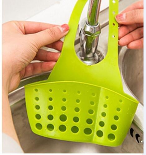 Verstellbare Korb Küche Knopf Kitchen Lagerung Hanging Lagerhalter Küchenhelfer Speicher Korb Holder Storage Werkzeug (Grün)