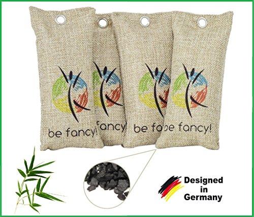 be fancy! ♻ 4x 75g Nachhaltiger Bambus Aktivkohle Luftreiniger, Lufterfrischer, Luftentfeuchter und Schuh Erfrischer im Set - absorbiert Gerüche & filtert Schadstoffe (Kohle-schuhe)