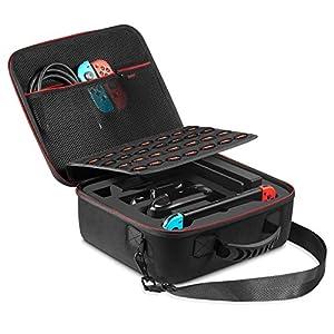 Nintendo Switch Tasche – innoAura Tragbarer Hartschalenkoffer mit viel Platz für Ihren Nintendo Switch Console, 28…
