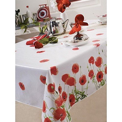 CALITEX Red Poppy Nappe PVC Rouge 180 x 180 cm