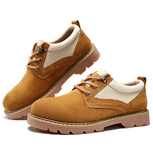 Hommes Chaussures à Lacet en Suédé Loisirs Bout Rond Outdoor pour Travail Homme Derby Épais Semelle Brun