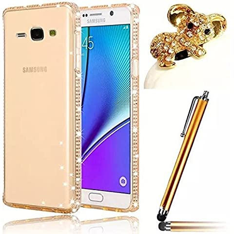 Vandot 3 in1 Set 0.7mm Silicone Trasparente TPU Bling Diamante Portafoto Case Cover Per Samsung Galaxy J7 2015 Ultrasottile Strass Lusso Cristallo Custodia di Protezione - Oro + Koala Animale Earphone Jack e Stylus Screen Touch Pen