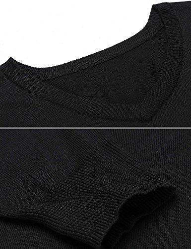 Chigant Damen Basic-Pullover Langarmshirt Sweatshirt mit V-Ausschnitt aus Feinstrick Schwarz