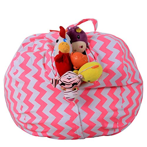 DIKEWANG Creative Large Capacity Kids Stuffed Animal Plush Toy Storage Bean Bag Soft Pouch Stripe Fabric Chair, Filled With Plush Toys,Clothing,Blankets, For Children To Enjoy The Storage Process