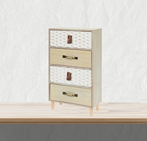 4 Schubladen Kommode Natur (Mini Kommode aus Holz mit 4 Schubladen Schubladenschrank Aufbewahrungsschrank Schmuckschrank Shabby Chic Landhaus Design Used weiss/natur gewaschen)