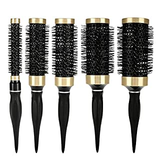 Hair Round Brush Round Comb, Set of 5 Round Hair Brush Curled Ceramic Hair Styling Brush, Professional Anion Anti-Static Hair Comb with Natural Rubber Handle Salon Styling Hairdressing Tools(Kit)