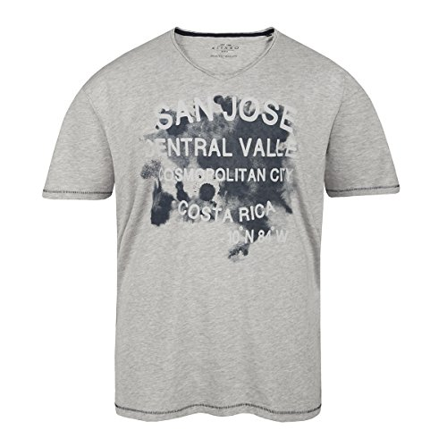 XXL Kitaro grau meliertes V-Neck T-Shirt Grau