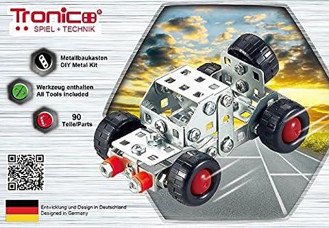 Tronico Metallbaukasten, Fahrzeug, Auto, 90 Teile, Freilauf, 4-farbig bebilderte Anleitung, inklusive Werkzeug, Starter Set, ab 8 Jahren,