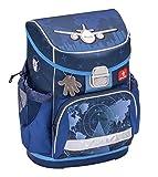 Ergonomischer Schulranzen Superleicht mit Brustgurt für die Grundschule 1-2 Klasse/Jungen / Flugzeug Motiv Blau von Belmil