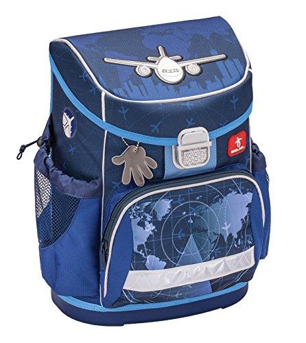 Ergonomischer Schulranzen Superleicht mit Brustgurt für die Grundschule 1-2 Klasse / Jungen / Flugzeug Motiv Blau von Belmil