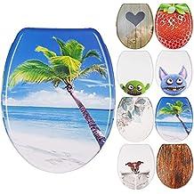 WC Sitz mit Absenkautomatik, Duroplast Toilettendeckel, Softclose Klobrille - Motiv Palmen-Strand Design Dekor