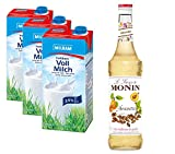 Monin Amaretto 0,7l + 3 Milram H-Vollmilch 1,0l 3,5% + Milchshake Rezept (1 x 0.7 l Monin + 3 x Milram 1,0l 3,5%)