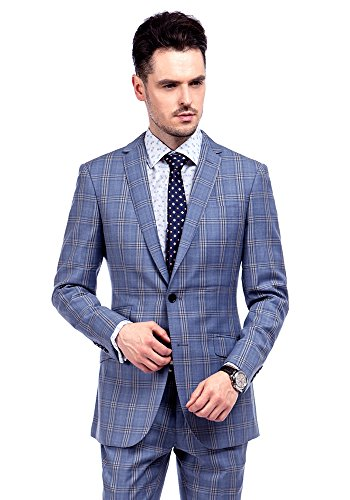 MA 100% laine Windowpane Hommes Costumes Slim Fit moderne (3 couleurs) Bleu