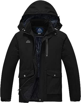 donhobo Men's Waterproof Ski Jackets,Winter Fleece Windproof Jacket Outdoor Hiking Windbreaker Coats with Hood