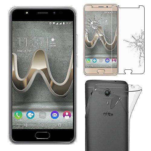 ebestStar - Wiko U Feel Prime Hülle [Phone: 142.5 x 69.9 x 8.7mm, 5.0''] Handyhülle [Ultra Dünn], Durchsichtige Silikon Schutzhülle, Transparent + Panzerglas Schutzfolie [Lesen Sie die Beschreibung]