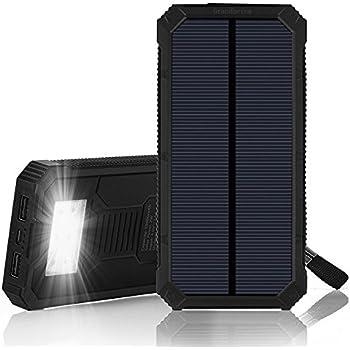Batterie Powerbank portable Sans Prise 15000 mAh avec 2 port USB pour Smartphone et Tablette, lampe 6 LED et Panneau Solaire pour recharge en extérieur