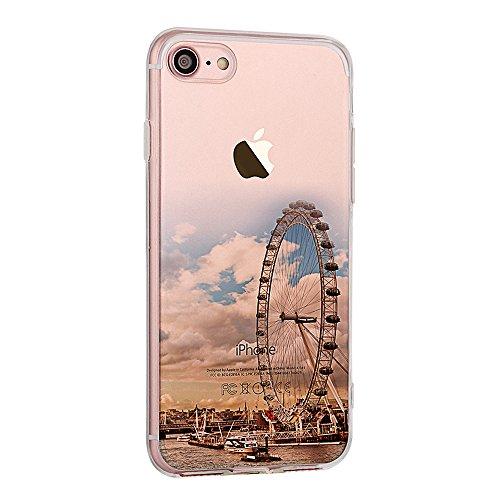 """Handyhülle für 4.7"""" Apple iPhone 7, iPhone 7 Klare Motiv Case, CLTPY Luxus Schlank Hybrid Silikon Stoßfest Schale Cover, Malerei 3D Landschaft Series TPU Fall-Abdeckung für iPhone 7 + 1 Stylus - Elch Riesenrad"""