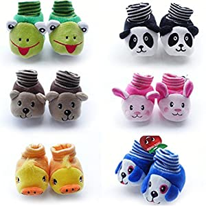 Prince and princess Born Baby Fancy Cartoon Face Socks cum Shoes for new born ( Random Design / Color ) Set Of 1 Pair