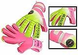 Torwart-Handschuhe für Fußball, Halb-negativer Schnitt, flacher Mix-Schnitt, GK Saver Passion PS 08 pink, verschiedene Größen erhältlich, YES Finger Save NO Personalization