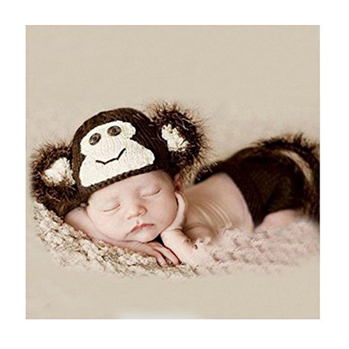 rtigt Crochet Knit Baby Foto Requisiten Cute Baby Monkey Outfits, Monkey Kostüm für Baby (0–6 Monate) (Cute Baby Monkey Kostüme)