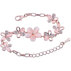 Nakabh Rose Gold Crystal Charm Bracelet for Girls and Women
