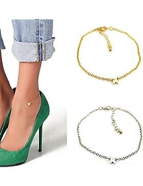 SwirlColor 2 Stück elegantes Gold und Silber Farbe Schmetterlings-Entwurfs-Knöchel-Kettenarmband