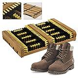 Heavy Duty Door Step Boot Scraper Mat Brush, Portable Wooden Mud, and Dirt Outdoor Shoe Trainer Cleaner Doorstep