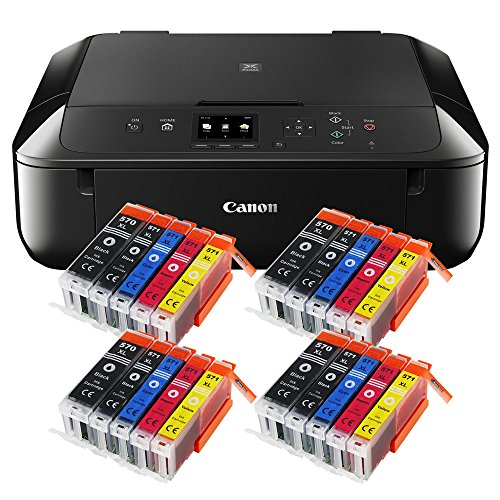 Canon Pixma MG5750 MG-5750 All-in-One Farbtintenstrahl-Multifunktionsgerät (Drucker, Scanner, Kopierer, USB, WLAN, Apple AirPrint) schwarz + 20er Set IC-Office XL Tintenpatronen 570XL 571XL (Originalpatronen nicht im Lieferumfang)