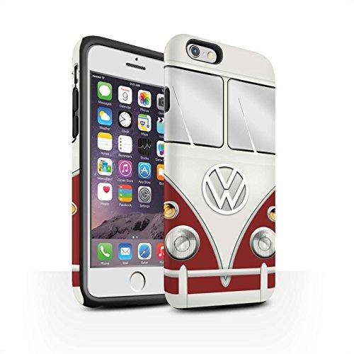 STUFF4 Matte Harten Stoßfest Hülle / Case für Apple iPhone 6 / Titan Rot Muster / Retro T1 Wohnmobil Bus Kollektion Titan Rot