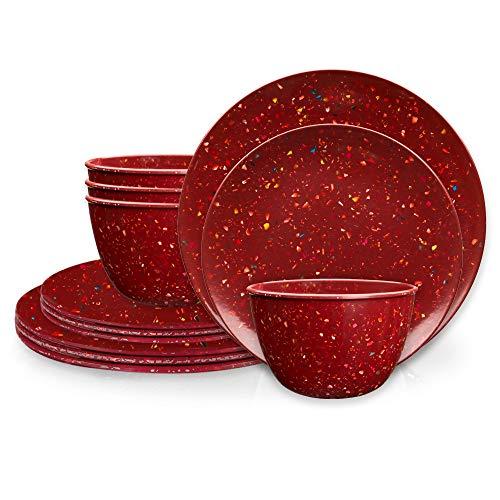 efca81ec2aa Zak Designs Confetti Melamine Dinnerware Set Includes Dinner Plates, Salad  Plates, and Individual Bowls