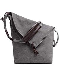 Preisvergleich für Achun Lektion Tragetaschen Canvas Bag Schultertasche Einkaufstasche Damen Large-Capacity Einkaufstasche (Grau)