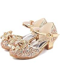 2037bbd7a YOGLY Disfraz de Princesa Zapatos de Tacón Alto Fiesta Sandalias para Niñas  Brillante Princesa Zapatilla de
