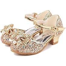 dbb7eb0b8 YOGLY Disfraz de Princesa Zapatos de Tacón Alto Fiesta Sandalias para Niñas  Brillante Princesa Zapatilla de